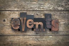 Free Events, Word Written With Vintage Letterpress Printing Block Royalty Free Stock Image - 106380326