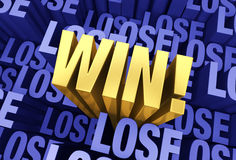 Eventually You Win. A bright, gold WIN! emerges from a 3D blue gray background filled with LOSE at different depths Stock Photos