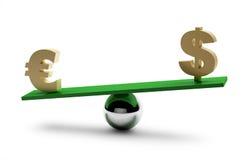 Evenwicht van dollar en euro Royalty-vrije Stock Foto's