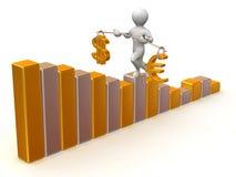 Evenwicht van dollar en euro Stock Afbeelding