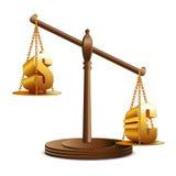 Evenwicht van euro en dollar Stock Afbeelding