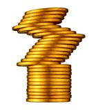 Evenwichtig Gouden Muntstuk. Royalty-vrije Stock Foto's