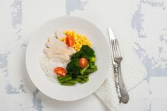 Evenwichtig maaltijd of dieetconcept royalty-vrije stock foto