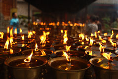 Ever-burning lamps. In leshan mountain,Sichuan Province,China stock photo
