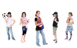 Ever changing teenager. A young teenage girl with a changing wardrobe and attitude Royalty Free Stock Photo