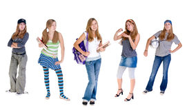 Ever Changing Teens. A young teenage girl with a constantly changing wardrobe and attitude Stock Photo