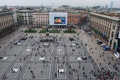 Ever-crowded Piazza del Duomo in Milan. Royalty Free Stock Photo