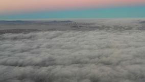 Aerial footage of marine layer over San Francisco Bay Area stock video