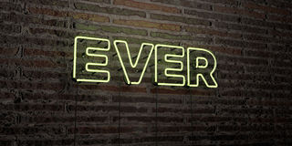 EVER -Realistic Neon Sign on Brick Wall background - 3D rendered royalty free stock image Stock Images
