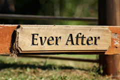 Ever after. Rustic wooden ever after plaque stock photo