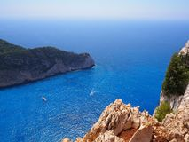 Ever-turquoise shipwreck bay at Zakynthos stock photo