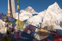 Everest και Nuptse από τη Kala Patthar στοκ φωτογραφία με δικαίωμα ελεύθερης χρήσης