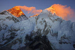 Everest 8848m and Nupse 7864m Royalty Free Stock Photography