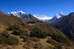 Everest and Ama Dablam 3. A view towards the highest point on earth, Mount Everest Royalty Free Stock Image