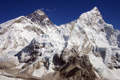 Everest & Nupse van Kalapattar, 5545m Stock Foto's