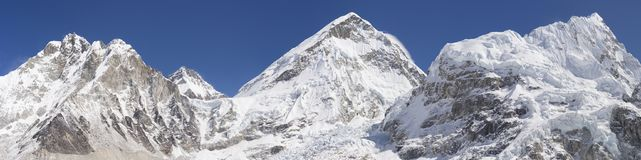 Everest base camp area panoramic view. Everest summit, Nuptse mount, Khumbu Icefall. Huge resolution 28538x7118 pixels stock photos