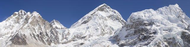 Everest base camp area panoramic view. Everest summit, Nuptse mount, Khumbu Icefall. Huge resolution 28538x7118 pixels Stock Photos