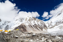 Everest Base Camp in Himalaya Mountains Landscape, Camping in Te Stock Photography