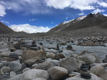 Everest Base Camp with Mount Everest in Background - Journey through Himalayan Mountains in Tibet, China. Everest Base Camp with Mount Everest in Background royalty free stock photos
