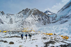 Everest Base Camp. Picture from Everest base camp in beautiful weather, and blue skies. Mt. Everest is to the right out of sight Royalty Free Stock Image