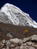 Everest base camp sign. Trekking in the Himalayas, Nepal, Asia. On way to Everest Base camp. Sign showing direction Stock Photos