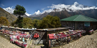 Everest base camp souvenir stands Royalty Free Stock Image