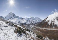 Everest base camp trek in Himalayas and Ama dablam Stock Photos