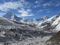 Everest Base Camp. Trekking in the Himalayas, Nepal, Asia. On way to Everest Base Camp, view of Khumbu Glacier Stock Images
