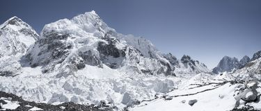 Everest base camp with view on Nuptse and Khumbu. Icefall Stock Images