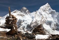Everest en Nuptse van Kala Patthar Stock Foto