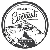 Everest in Himalayas, Nepal, China outdoor adventure badge. Chomolungma mountain illustration. Stock Images