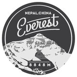 Everest in Himalayas, Nepal, China outdoor adventure badge. Chomolungma mountain illustration. Royalty Free Stock Photography