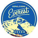 Everest in Himalayas, Nepal, China outdoor adventure badge. Chomolungma mountain illustration. Stock Image
