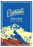 Everest in Himalayas, Nepal, China outdoor adventure poster. Chomolungma mountain illustration. Stock Images