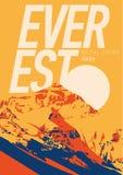 Everest im Himalaja, Nepal, China Abenteuerplakat im Freien Chomolungma-Berg an der Sonnenuntergangillustration vektor abbildung