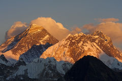 Everest from Kala Pattar. Everest at sunset. View from Kala Pattar - Nepal Royalty Free Stock Photos
