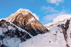 Everest from Kalapathar tops in the evening light Stock Images