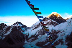Everest from Kalapathar tops lighting evening sun with Buddhist Royalty Free Stock Image
