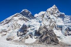 Everest landscape, Himalaya. Everest, Nuptse and Lhotse landscape, Himalaya, Nepal stock images