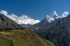 Everest, Lhotse i Ama Dablam halnego szczytu widok od Namche b, Obraz Stock