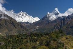 Everest, Lhotse i Ama Dablam halnego szczytu widok, Everest regi Obraz Royalty Free