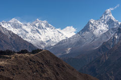 Everest, Lhotse i Ama Dablam halny szczyt, Everest region Obraz Stock