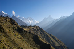 Everest, Lhotse i Ama Dablam widok w ranku, Everest Regio Obrazy Royalty Free