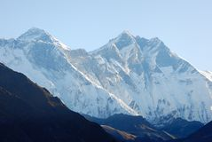 Everest and Lhotse. Nepal Sagarmatha Royalty Free Stock Photos