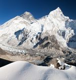 Everest, Lhotse and Nuptse from Kala Patthar Royalty Free Stock Photos
