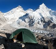 Everest, Lhotse and nuptse with tent Royalty Free Stock Photo