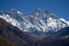 Everest and Lhotse Ridge. From Sangasa Royalty Free Stock Photos
