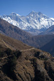Everest and Lhotse Ridge. Looking up the valley from Namche Stock Images