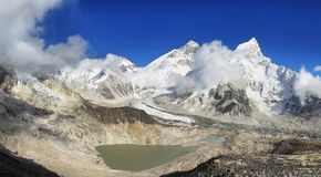 Everest & Lhotse van Kalapattar, 5545m Stock Foto