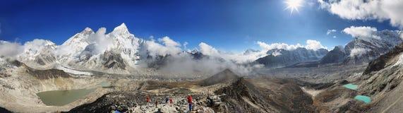 Everest & Lhotse van Kalapattar, 5545m Stock Foto's